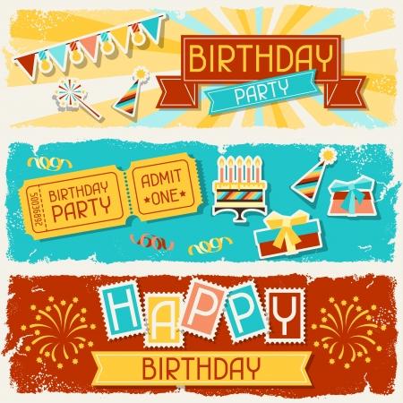 niños con pancarta: Banners horizontales del feliz cumpleaños.