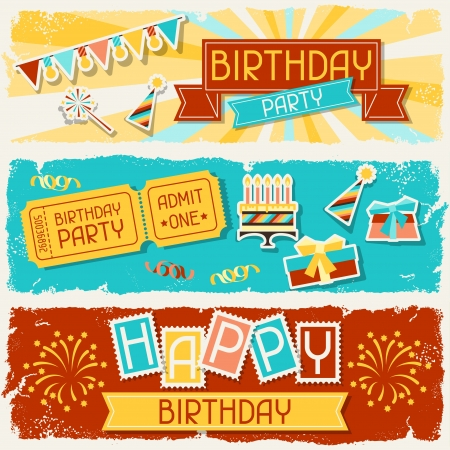 birthday decoration: Happy Birthday horizontal banners. Illustration