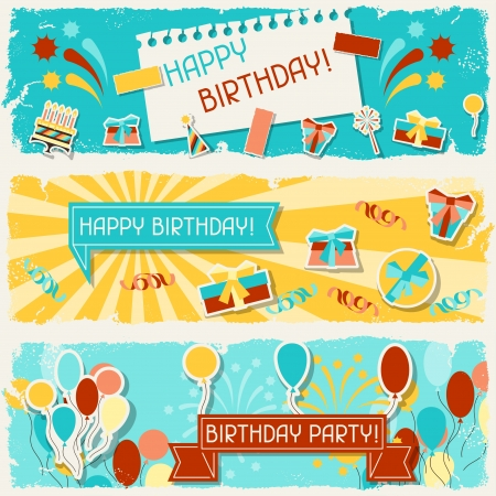 packing tape: Happy Birthday horizontal banners. Illustration