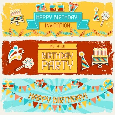 verjaardag frame: Gelukkige Verjaardag horizontale banners. Stock Illustratie