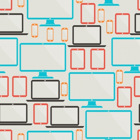Seamless pattern with electronic devices. Vector