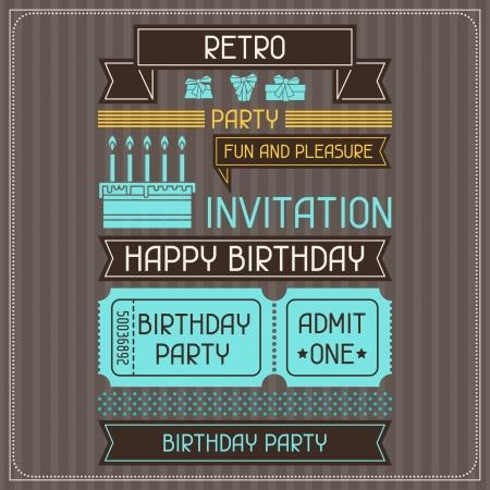 festa: Cartão de convite para o aniversário em grande estilo retro.