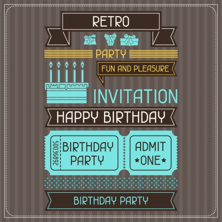Invitation card for birthday in retro style. Vector