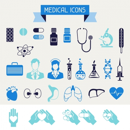 internal medicine: Medical and health care icons set.
