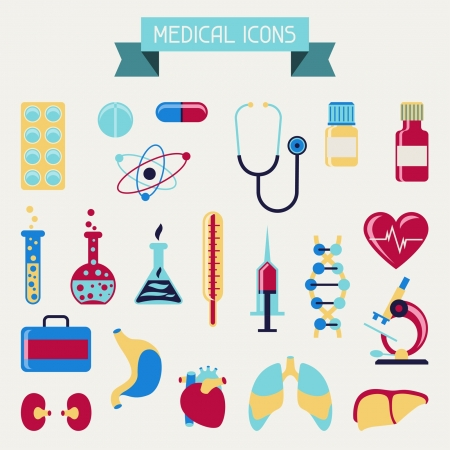 Medical and health care icons set. Vector