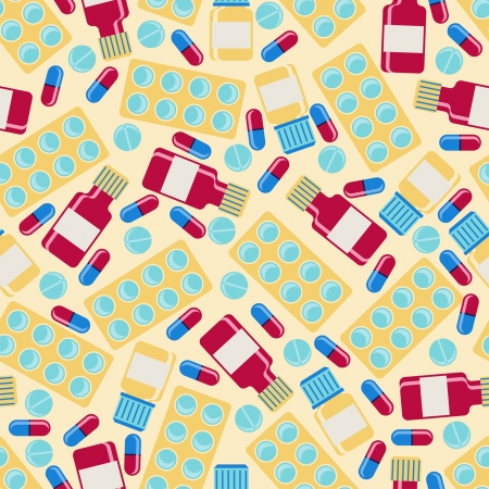 aspirin: Medical and health care seamless pattern.