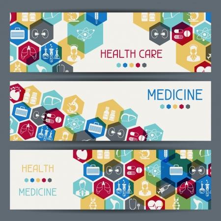 医療と健康医療の水平方向のバナー。  イラスト・ベクター素材