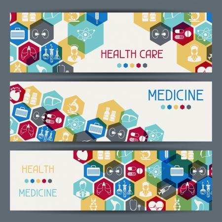 Medical and health care horizontal banners. Vector