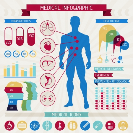 graphic tablet: Medical infographic elements collection.