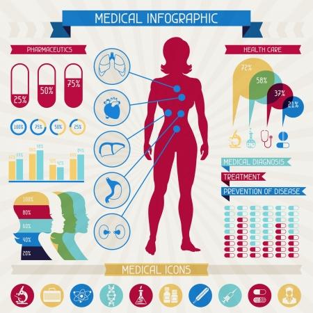 pulmon sano: Medical Colecci�n de los elementos infograf�a. Vectores