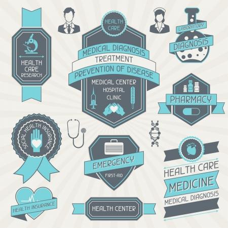 醫療保健: 集醫療標籤和標籤。 向量圖像