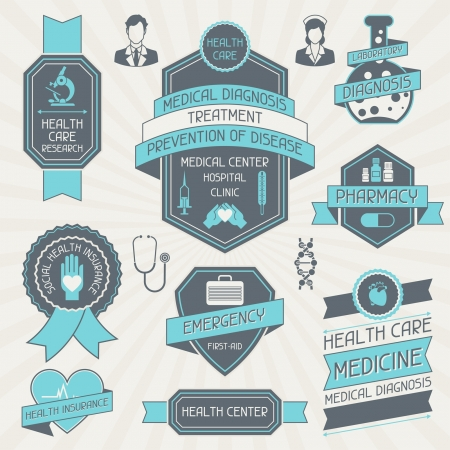 diagnosis: Set of medical labels and tags. Illustration