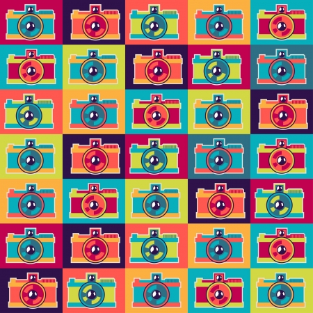 Seamless pattern in retro style with cameras  Vector