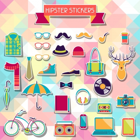 lomo: Hipster style elements and icons set for retro design  Illustration