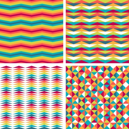 Seamless triangle patterns in retro style  Stock Vector - 20913521