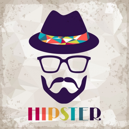 disco symbol: Hipster background in retro style.
