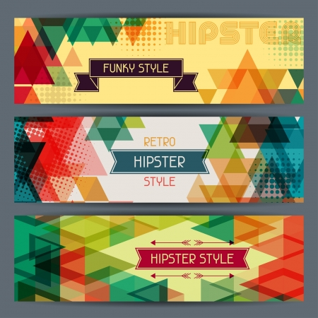 Hipster horizontal banners in retro style. Vector