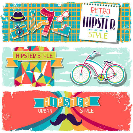 Hipster horizontal banners in retro style. Stock Vector - 20916186
