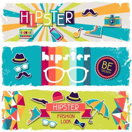 Hipster horizontal banners in retro style. Stock Vector - 20916187