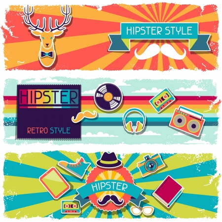 Hipster horizontal banners in retro style. Stock Vector - 20916188