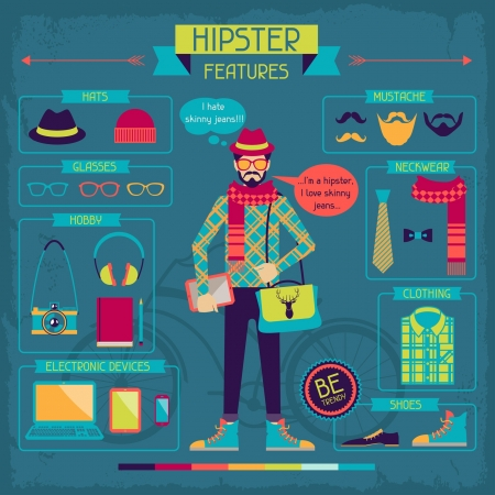 features: Infographic elements in retro style. Hipster features. Illustration