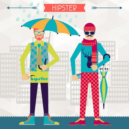 subculture: Two hipsters on urban background in retro style. Illustration
