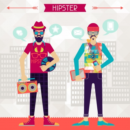 music figure: Two hipsters on urban background in retro style. Illustration
