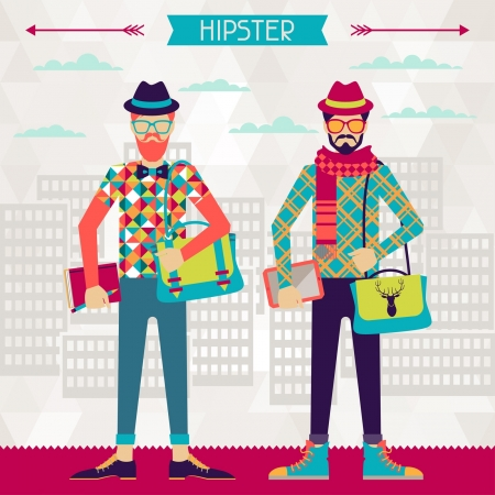 young man jeans: Two hipsters on urban background in retro style. Illustration