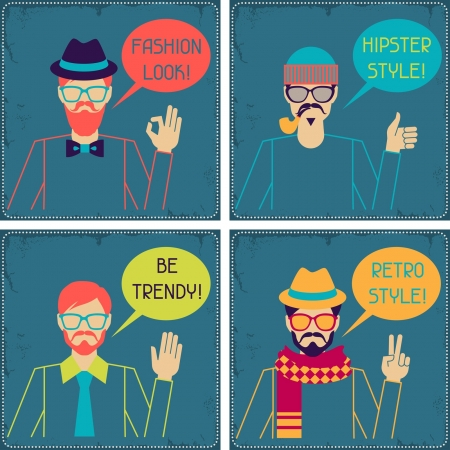 Hipster cards in retro style. Stock Vector - 20916195