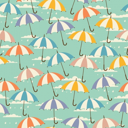 Seamless pattern in retro style with umbrellas. Vector