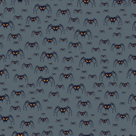 Halloween seamless pattern with spiders. Vector