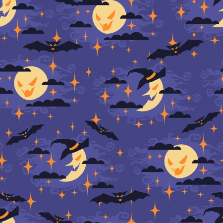 Halloween seamless pattern with moon. Vector