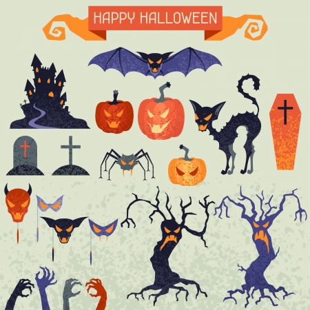 Happy Halloween elements and icons set for design. Vector