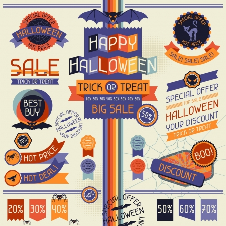 Halloween sale labels and stickers. Vector