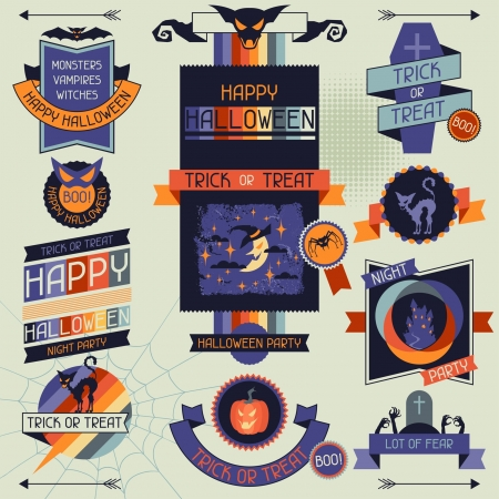 Halloween banners, badges and design elements. Vector