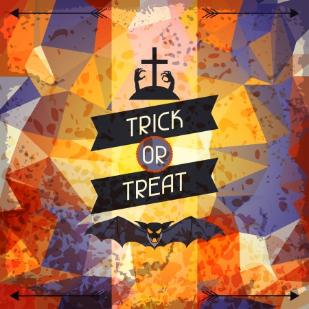 Happy Halloween grungy retro background. Vector