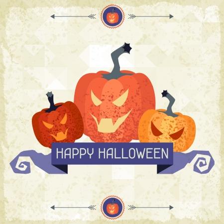 dientes sucios: Feliz Fondo sucio retro Halloween.