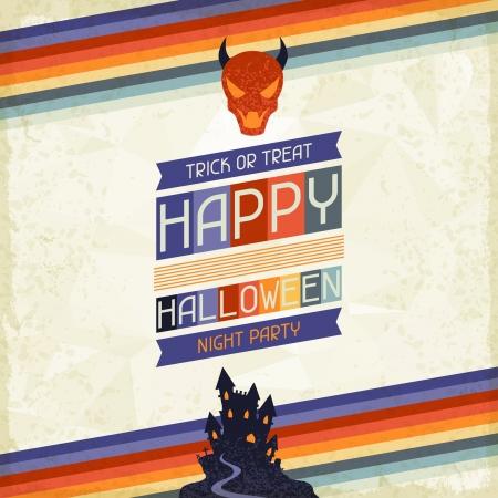 Happy Halloween grungy retro background. Vector