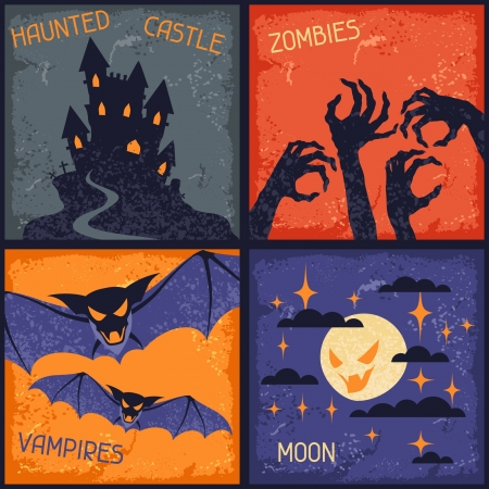Happy Halloween grungy retro backgrounds. Vector