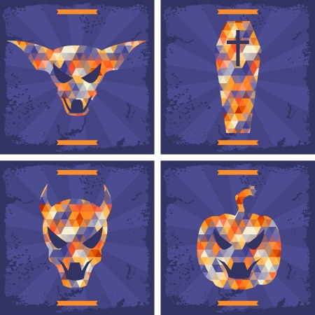 scratch card: Happy Halloween grungy retro backgrounds.