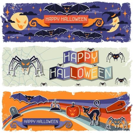 grungy header: Happy Halloween grungy retro horizontal banners.