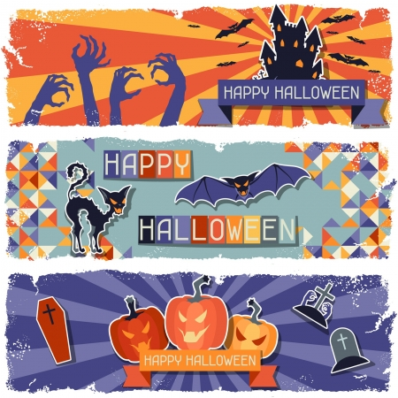 Happy Halloween grungy retro horizontal banners. Vector