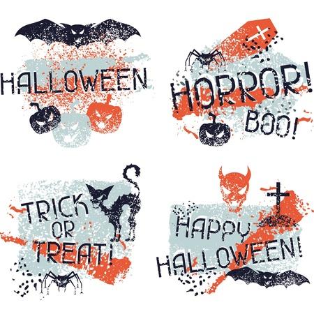 Happy Halloween prints with grunge texture. Vector