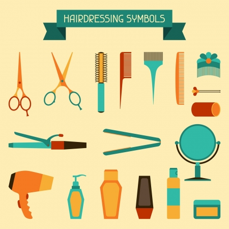 salon hair: Hairdressing symbols. Illustration