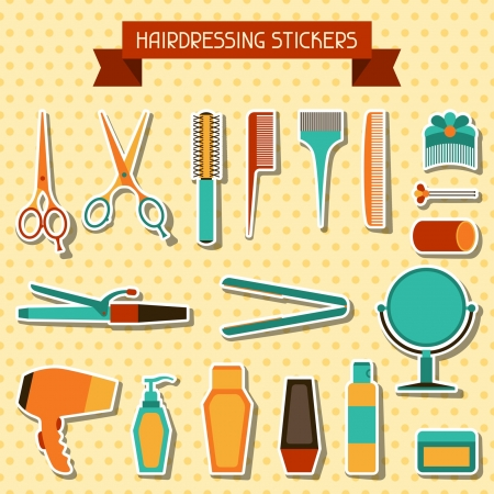 hair dryer: Hairdressing stickers. Illustration