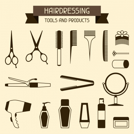 salon hair: Hairdressing tools and products.