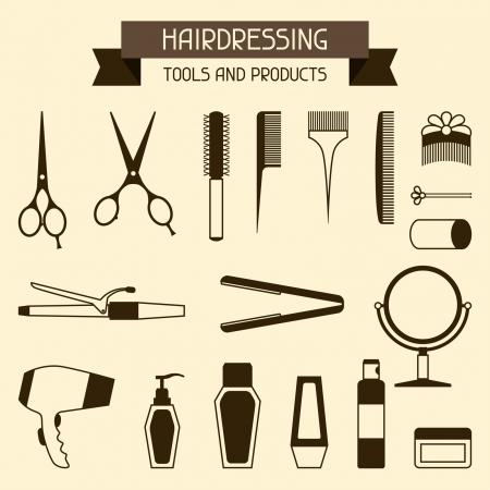 rulos: Peluquer�a herramientas y productos. Vectores
