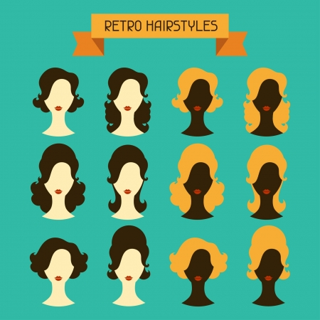hairy girl: Retro hairstyles. Female silhouettes. Illustration