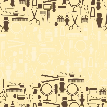Hairdressing tools seamless pattern in retro style. Иллюстрация