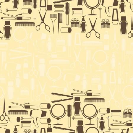 peluqueria: Peluquería herramientas patrón transparente en estilo retro.